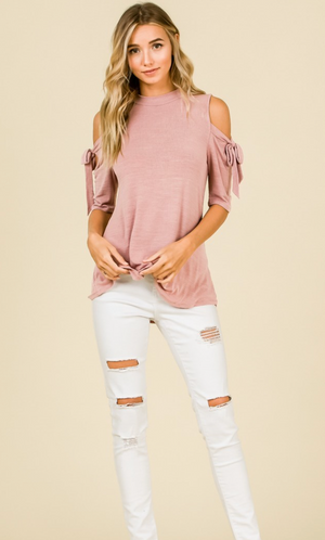 Short Sleeve Cold Shoulder Top Plus Size