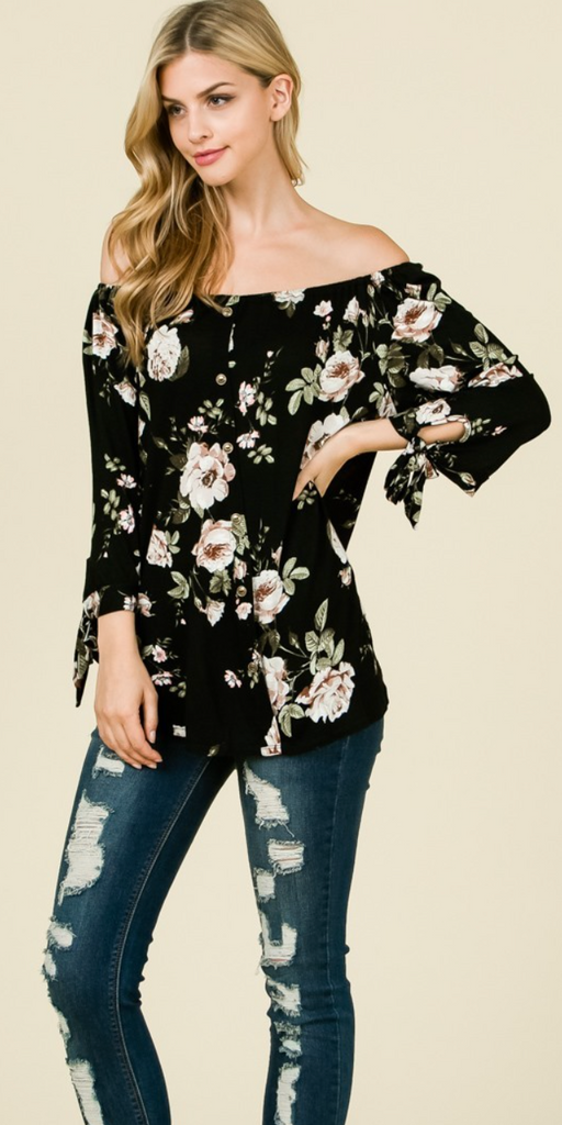 Long Sleeve Off Shoulder Floral Print Top Plus Size