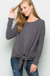 Front Knot Sweater - Plus Size
