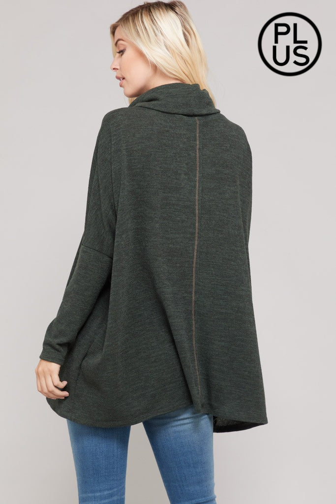Cowl Neck Sweater - Plus Size