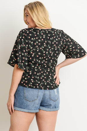 Floral Blouse V Neck Plus Size