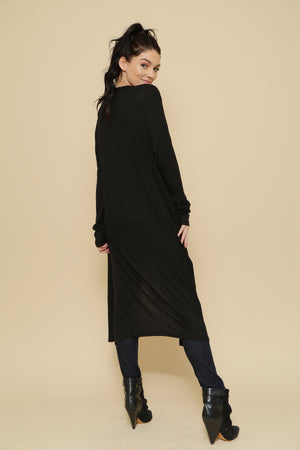 Side Slit Long Cardigan - Plus Size