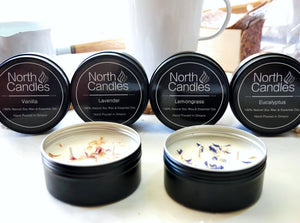 Vanilla, Lemongrass, Eucalyptus, Lavender (Mixed Essential Oils) - 4oz (10-15hrs) - Scented Soy Candle