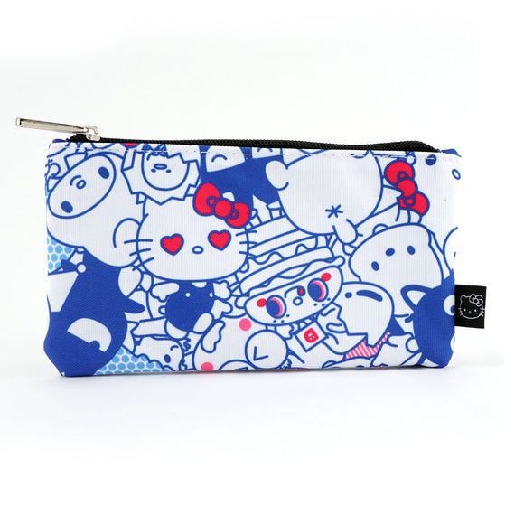 LOUNGEFLY CARTUCHERA FRIENDS PRINT HELLO KITTY - AZUL