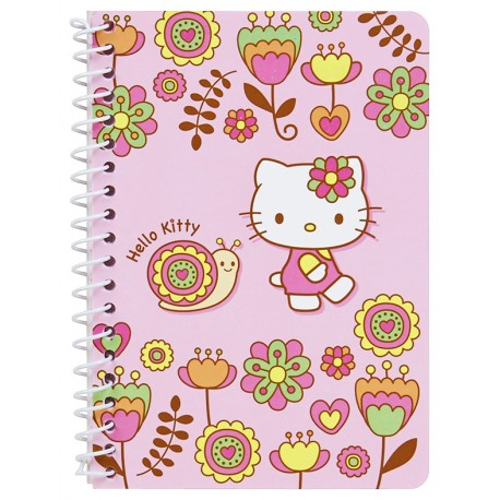 SANRIO MINI BLOCK DE NOTAS ESPIRAL RAYADO SNAIL HELLO KITTY - MULTICOLOR