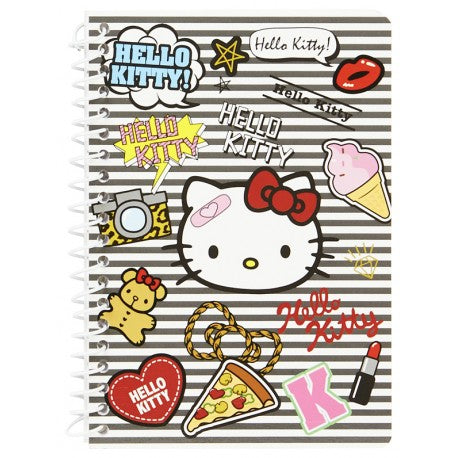 SANRIO MINI BLOCK DE NOTAS ESPIRAL RAYADO PATCH HELLO KITTY - MULTICOLOR