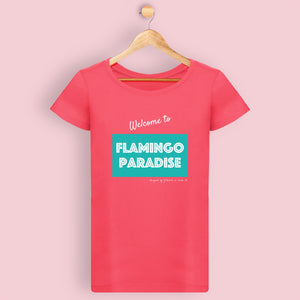 T-shirt femme WELCOME TO FP - Vert et rose