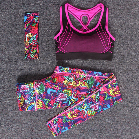Women Yoga Fitness Sports Sets Gym Workout Sportswear 3pcs/Set Tracksuits Headband+Bra+Printed Yoga Pants Sport Leggings Suits