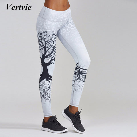 Vertvie 2017 Tree Pattern Sport Leggings Tights Printed Yoga Pants High Elastic Waist Push Up Running Fitness Gym Sportwear