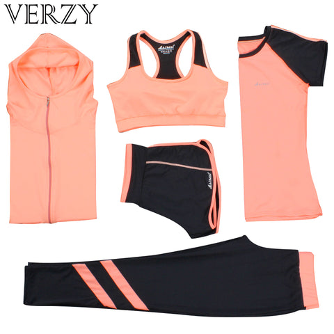 New Yoga Suits Women Gym Clothes Fitness Running Tracksuit Sports Bra+Sport Leggings+Yoga Shorts+Top 5 Piece Set Plus Size M-3XL
