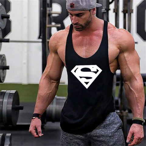 New Arrivals Bodybuilding stringer tank top Superman Gyms sleeveless t shirt men Fitness Vest Singlet sportswear workout tanktop