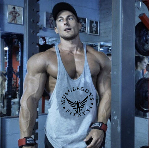 Muscleguys Brand Fitness Clothing Bodybuilding Tank Top Men Gyms Stringer Singlet Cotton Sleeveless shirt Workout Man Undershirt