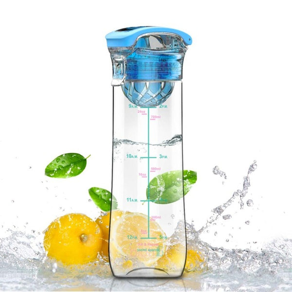 800ml Leakproof Flip-Top Fruit Infuser Plastic Water Bottle Tritan BPA Free Portable Handle Outdoor Camping Gym Christmas Gift
