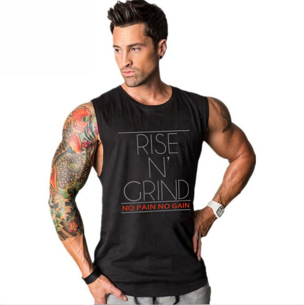 Brand Men's Muslce Vest Tank Tops Bodybuilding Fitness Men Cotton Singlets Plus size O-Neck T Shirt Man Sleeveless Shirt