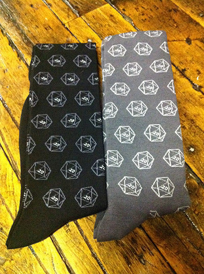 D20 Gamer Dice Socks - Grey