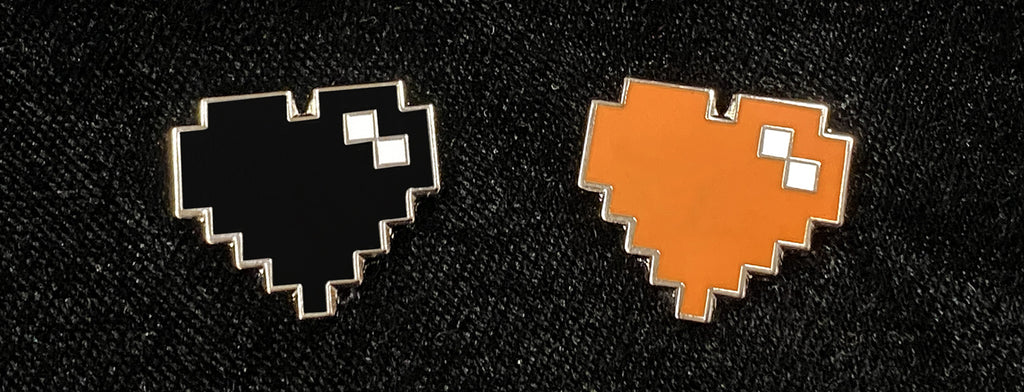Black and Orange Pixel Heart Pin Set