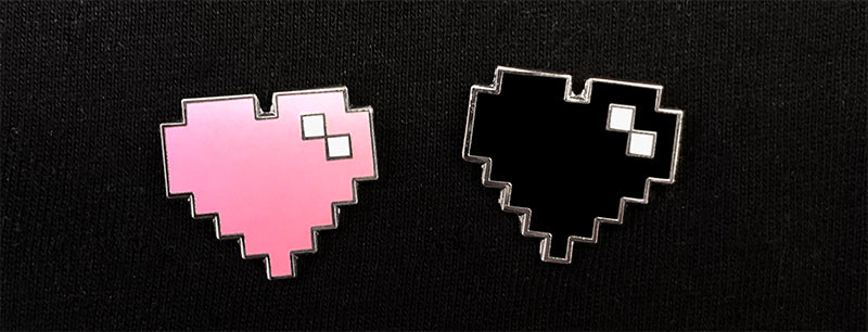 Black and Pink Pixel Heart Pin Set