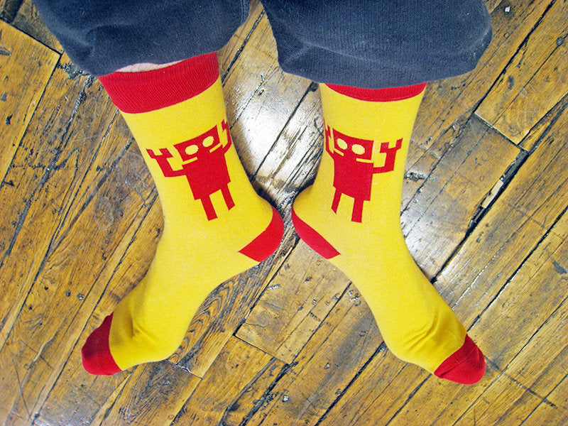 Giant Red Robot Socks!