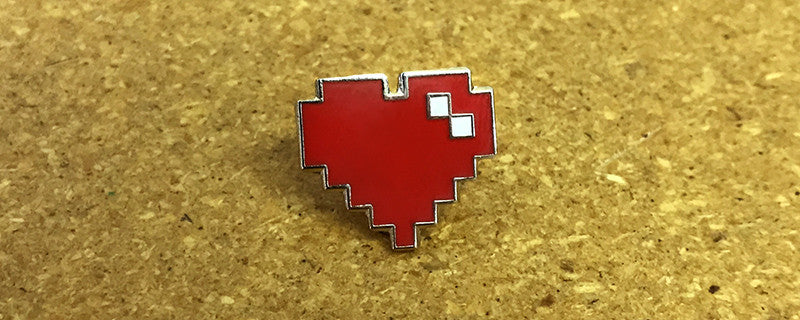 Pixel Heart Enamel Pin (Red)