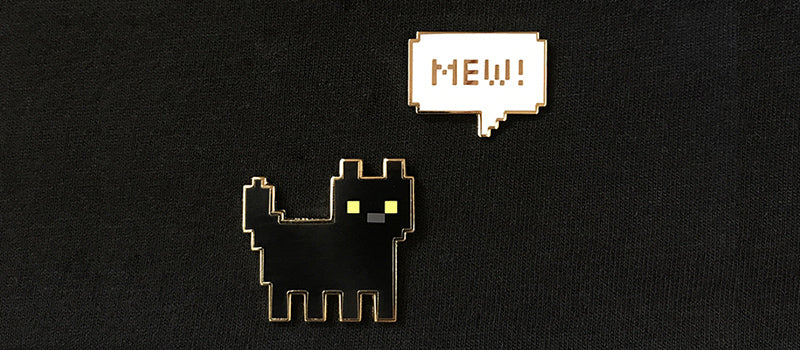 MEW! Black Kitten Enamel Pin Set
