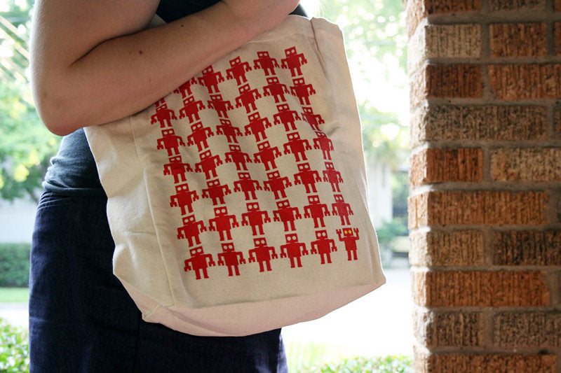 Red Robot Army Tote Bag