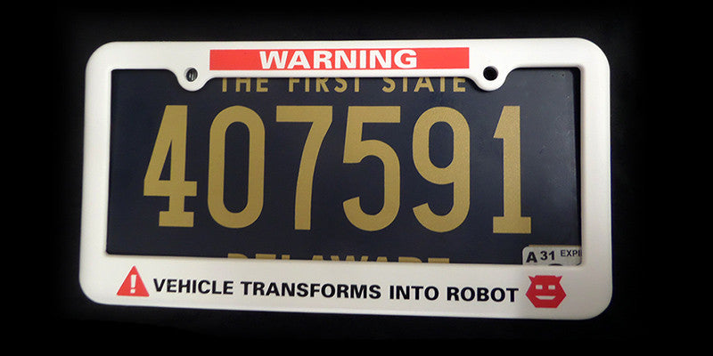 WARNING! Vehicle Transforms Into Robot License Plate Frame
