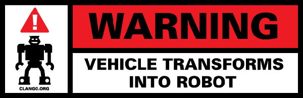 """Warning! Vehicle Transforms Into Robot"" Stickers"