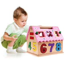 Wooden Numbers Puzzle House