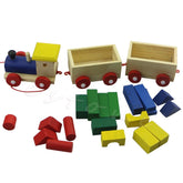 Wooden Toy Train Set With Geometric Blocks