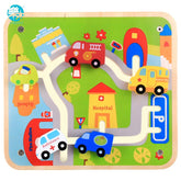 Logwood Baby wooden toys building block Track game small cars Learning Educational Children toy city traffic Table games