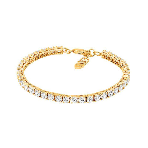 SS WH CZ 4mm Gold Plated Tennis Bracelet w/ extension Chain
