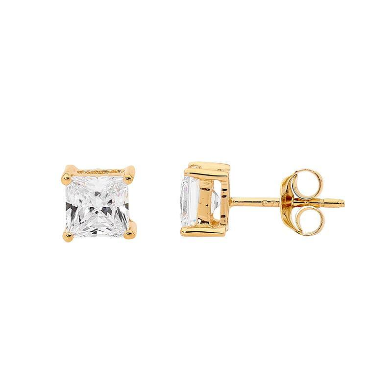 SS 5mm Princess WH CZ Claw Studs w/ Gold Plating