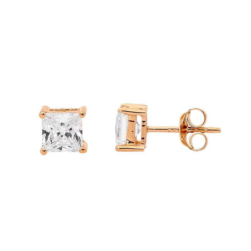 SS 5mm Princess WH CZ Claw Studs w/ Rose Gold Plating