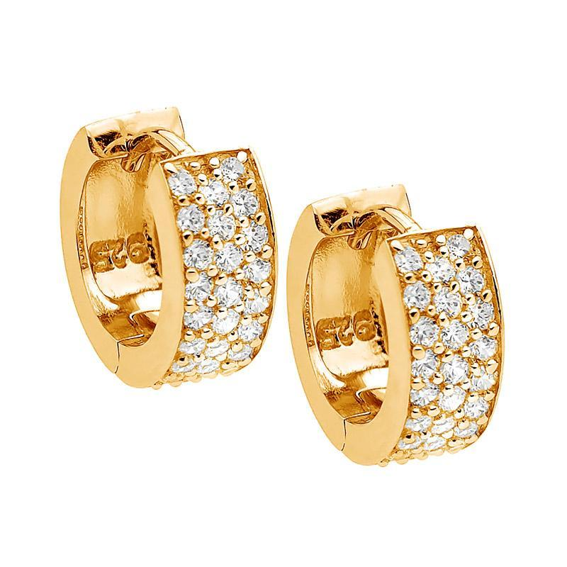 SS WH CZ 3 Row Pave Huggie Earrings w/ Gold Plating