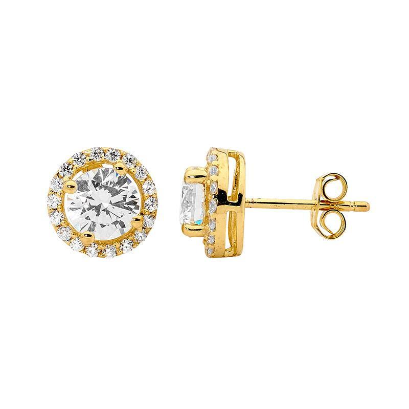 SS CZ Solitaire & WH CZ Surround Earrings w/ Gold Plating