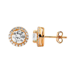 SS CZ Solitaire & WH CZ Surround Earrings w/ Rose Gold Plating