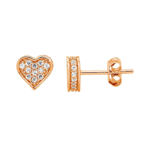 SS WH CZ Pave Flat Heart Earrings w/ Rose Gold Plating