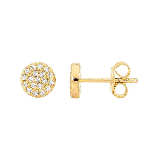 SS WH CZ Pave 7mm Circle Stud Earrings w/ Gold Plating