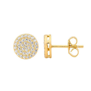 SS WH CZ Pave 8mm Circle Stud Earrings w/ Gold Plating