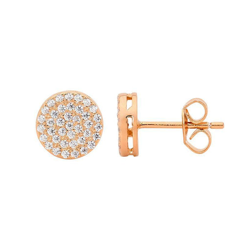SS WH CZ Pave 8mm Circle Stud Earrings w/ Rose Gold Plating