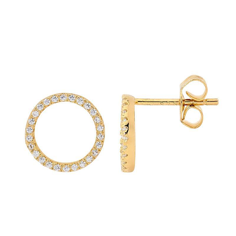SS WH CZ Open Circle Earrings w/ Gold Plating