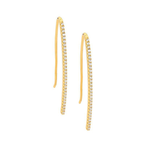 SS WH CZ Drop Bar Earrings w/ Gold Plating