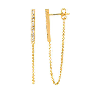SS WH CZ Bar Earrings w/ attached chain & Gold Plating