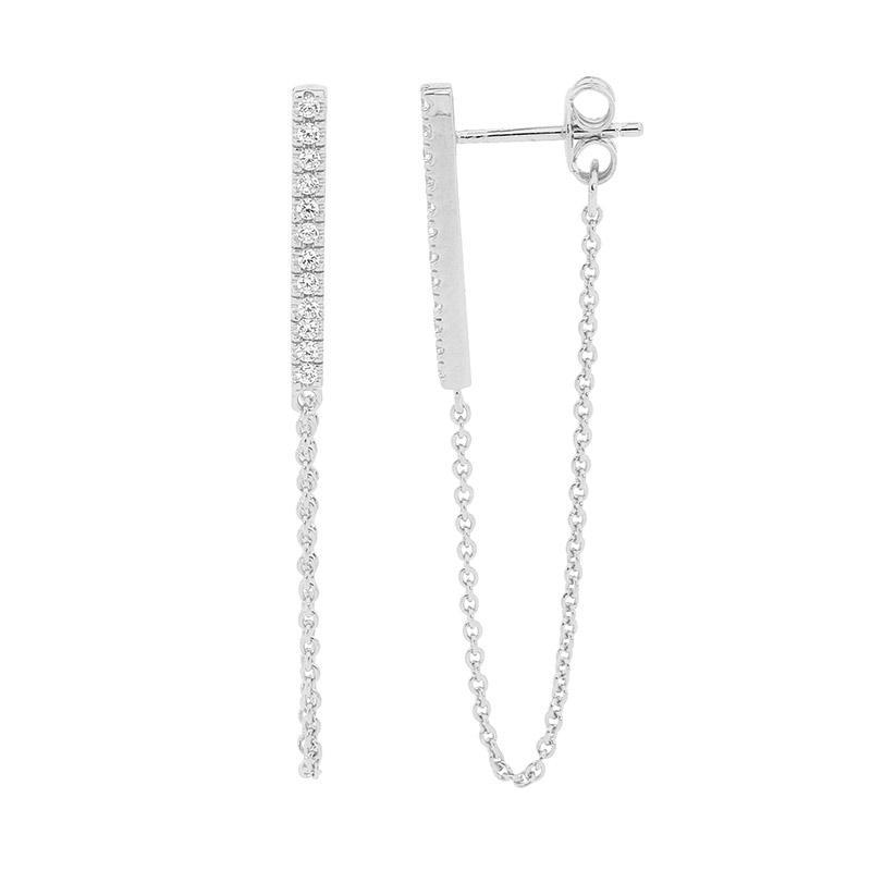 SS WH CZ Bar Earrings w/ attached chain