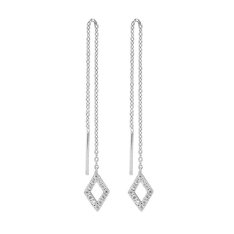 SS WH CZ open diamond shape thread earrings