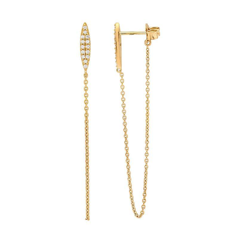 SS WH CZ sml bar earrings w/ attached chain & gold plating