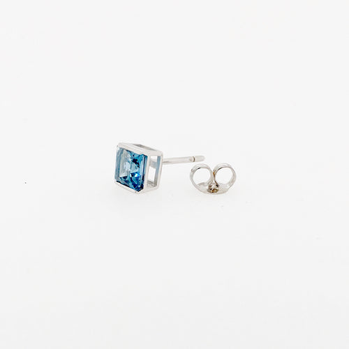 9ct white gold london blue topaz princess cut studs
