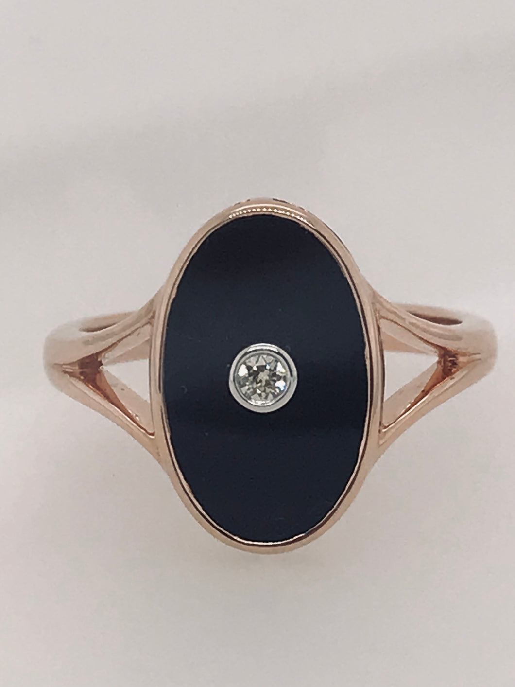 Rose gold Onyx and Diamond ring