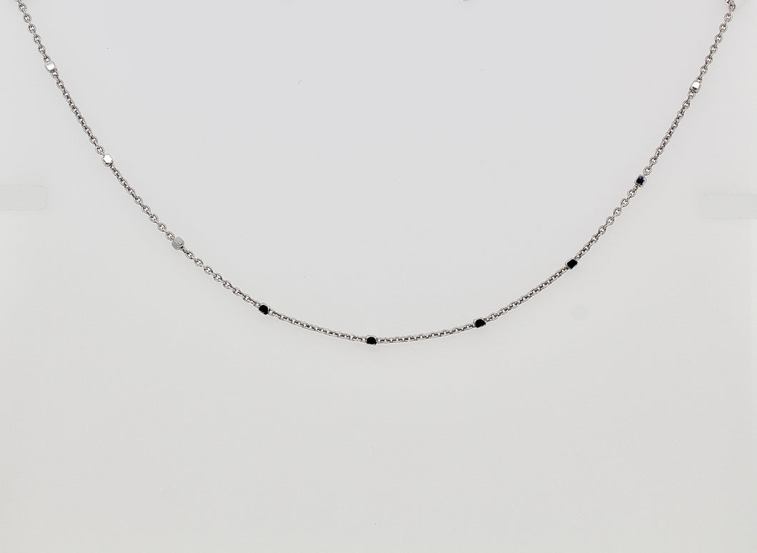 white gold chain with tiny diamond cut blocks