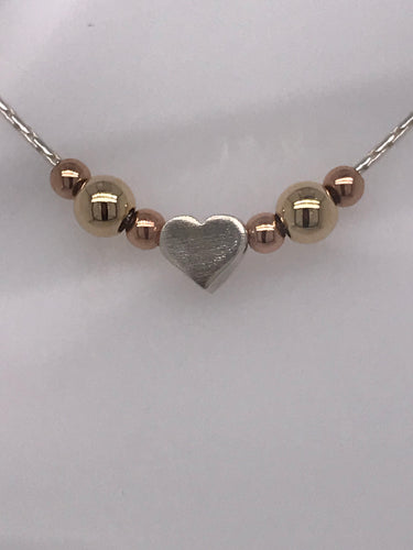 gold fill and sterling silver heart with ball necklace